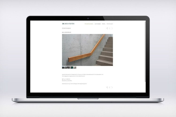 Picture of Laptop with Website for DK Architects Munich